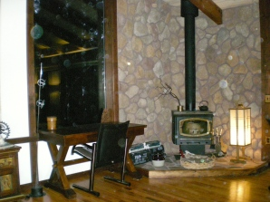 Living room with wood-burning stove